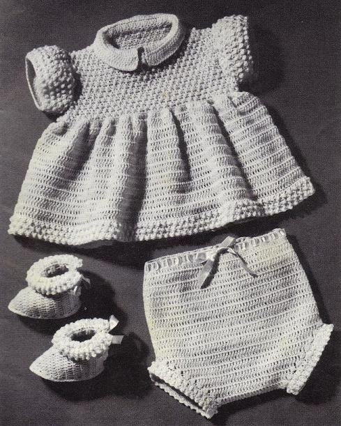 Sew Knit Crochet Vintage Patterns - Crochet Dolls Lace Baby