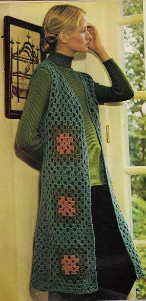 Free Crochet Patterns For Long Vests : Crochet Granny Squares ? Long Tailored Vest ? Grandmother ...