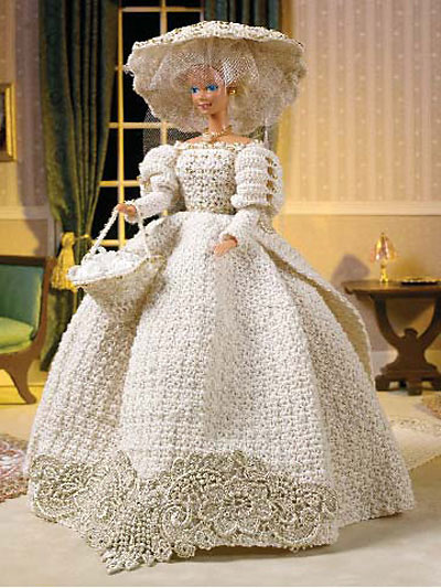 Wedding knit and crochet bride and groom dolls free for Crochet wedding dress pattern