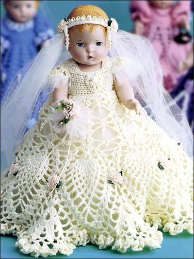 Crochet Doll Dress Potholder Pattern : Wedding Knit and Crochet Bride and Groom Dolls free ...