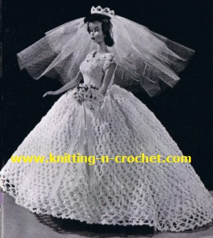 Free Knitting Pattern For Barbie Wedding Dress : Wedding Knit and Crochet   Bride and Groom Dolls   free crochet patterns   Gr...