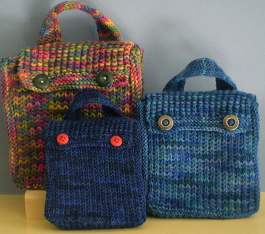 Knitting Pattern For Book Bag : Back to School Lunch Bags to Knit and Crochet   free patterns   Grandmother
