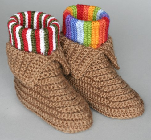 Crochet Pattern Cuffed Boots Slippers in Women and Kids Sizes PDF 12