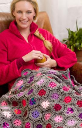 Crochet a Flower Afghan -free patterns from Red Heart ...