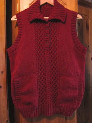 Cable panel sweater vest
