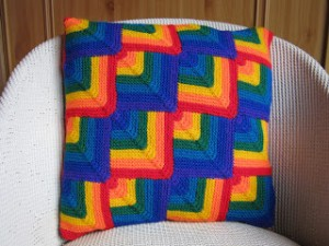 Finished rainbow cushion