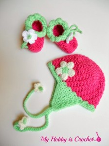 crochet baby earflap hat and booties free patterns