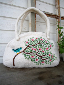 bird on magnolia branch embroidered knitted felted handbag