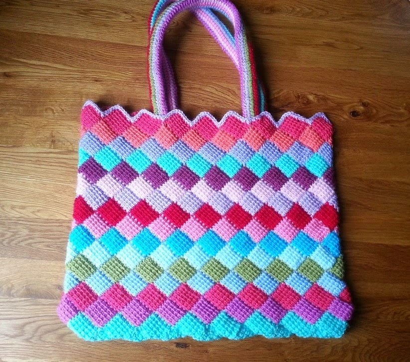 Tunisian Crochet Patterns Bags : Entrelac Crochet - free patterns - Grandmothers Pattern Book