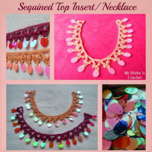 sequined crochet necklace-top insert