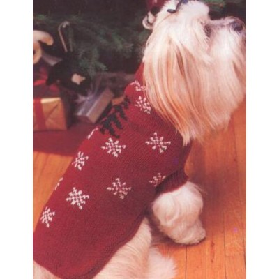 Knit a christmas sweater hat collar or scarf for your - Dog hat knitting pattern free ...