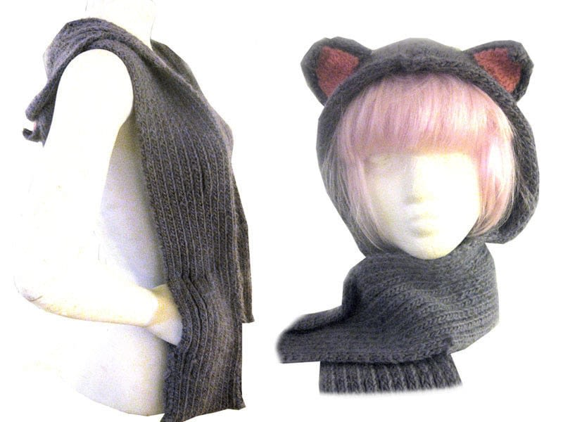 Knitting Pattern Hood With Ears : Cat Hats for People! free patterns to knit   Grandmothers ...