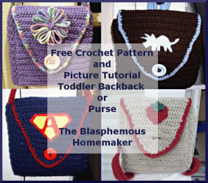 Crochet Toddler Backpack and Purse border