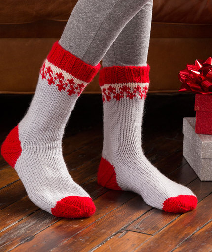 Knitted Sweater Patterns Free : Fun! Christmas Slippers to Knit for Adults and Children   20 free patterns   ...