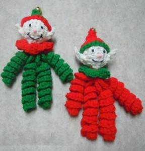 crochet elf ornaments