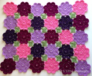 Crocheted flower garden blanket