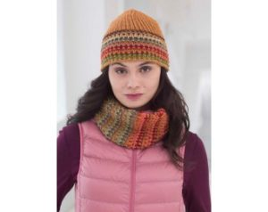 Knit-Pattern-Shaded-Mosaic-Cowl-And-Hat-L40063-a